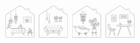 Stay at home during the coronavirus quarantine. Apartment with furniture and home decorations. Monochrome vector illustration, isolated on white background