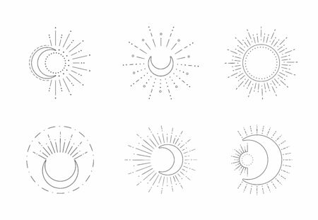 Vector sun and moon line design isolated on white