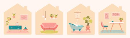 Collection of room interior with home furniture. Flat vector illustration. Иллюстрация