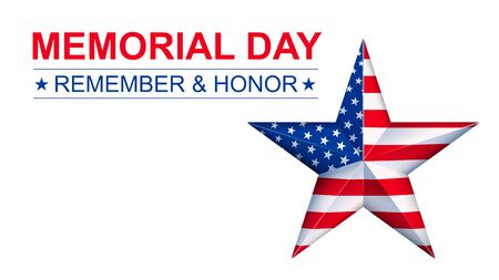 Vector Memorial Day with star in national flag colors. Template for banner or article. Copyspace Иллюстрация