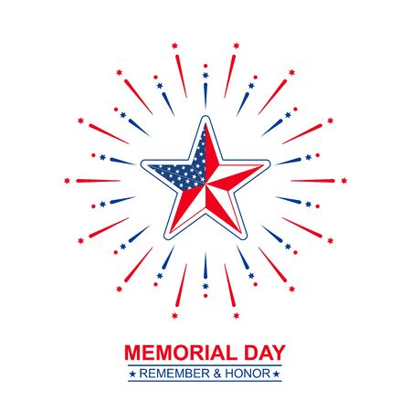 Vector Memorial Day with star in national flag colors. Illustration, isolated on white background