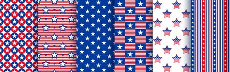 Patriotic seamless patterns with stars in the colors of the national american flag. Pattern swatches included in the Swatches panel