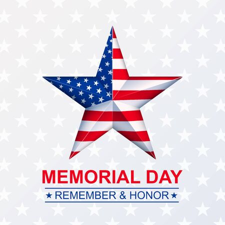 Vector Memorial Day with star in national flag colors with light ray. Illustration, isolated on white background