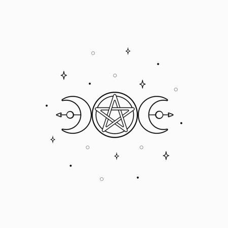 Mystic boho logo, design elements with moon, stars. Vector magic symbols isolated on white background