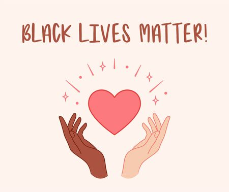 Black lives matter. Hands holding red heart. Vector illustration