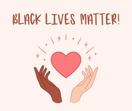 Black lives matter. Hands holding red heart. Vector illustration
