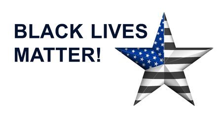 Black Lives Matter with star in american police flag colors. Vector banner Иллюстрация