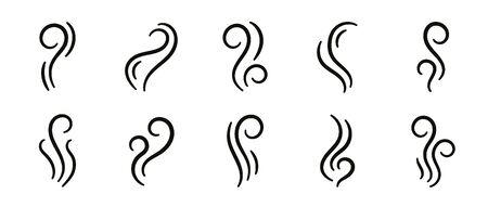 Vector smell icon. Set of smoke, steam, vapour illustration Иллюстрация
