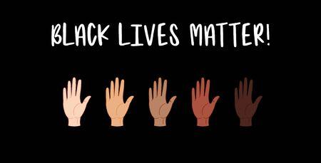 Black lives matter. Hands with different skin colors . Vector illustration Иллюстрация