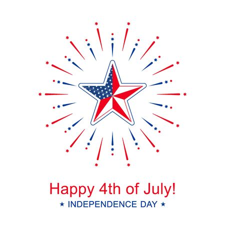 Vector Independence Day with star in national flag colors. Happy 4th of July banner Иллюстрация