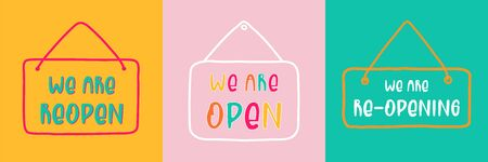 Reopen text, vector open sign after Covid-19 pandemic. Template: door sign, banner, social media