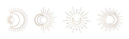 Sun and moon line art clipart. Outline sun, moon tattoo.