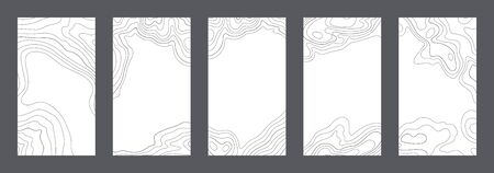 Contour lines on topographic maps, geographic map pattern. Vector set of social media stories template with copy space