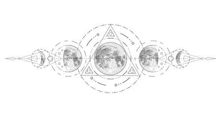 Magic moon with sacred geometry tattoo design. Phases of the moon, vector illustration.