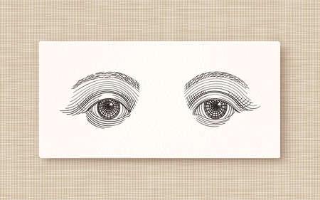 Vintage engraved eyes, tattoo flash, hand drawn sketch illustration