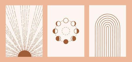 Boho sun, moon, rainbow set, minimalist mid century modern art
