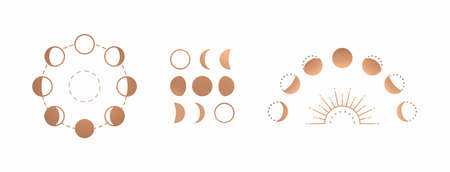 Phases of the moon, boho moon sun vector illustration, isolated on white background