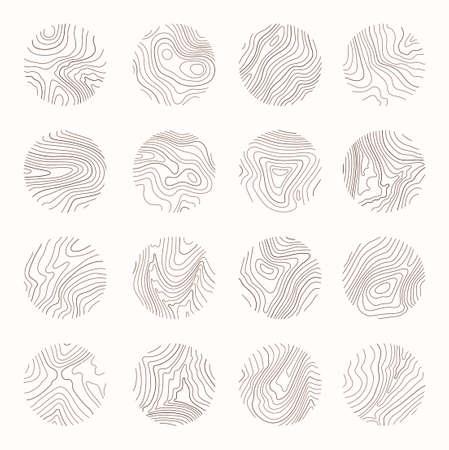 Tree ring, wood line art. Vector topography illustration Иллюстрация