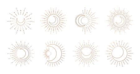 Sun and moon line art logo. Boho ray sun, mystic moon tattoo