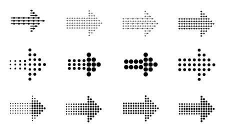 Arrows vector icons. Sign circle arrow flat design, round forward arrows. Halftone effect