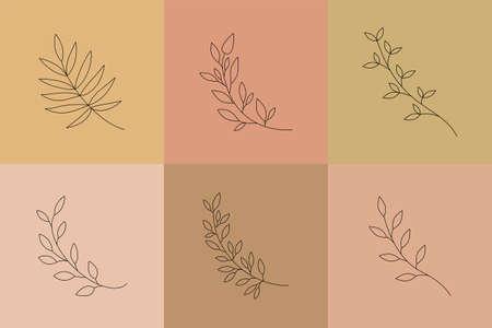 Botanical line art vector leaves. Boho minimal leaf