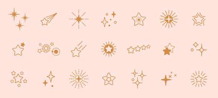 Golden stars line art icon. Vector star for logo, social media stories