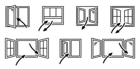 Open windows and air exchange. Set of vector window line art
