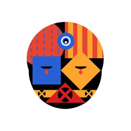 Abstract geometric face, vector illustration bauhaus mask