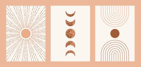 Boho sun, moon, arch set, minimalist mid century modern art