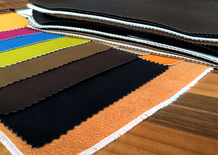 clothes: Leather samples, concept for furniture or clothes manufacturer or shop