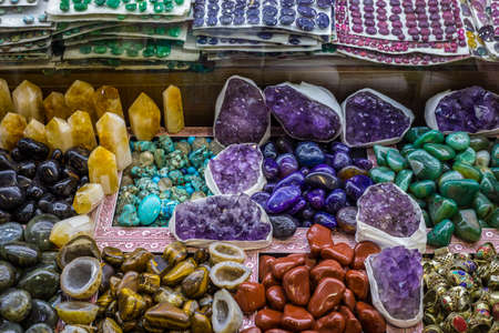 Selection of precious and semiprecious stones on the market, Istanbul, Grand Bazaar, Turkey Stock Photo