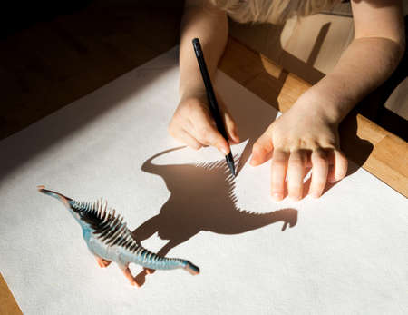 child enthusiastically outlines the shadow from the figure of a toy dinosaur. Development of fine motor skills. children's fun. Ideas for creativity at home for kid. Selective focus.