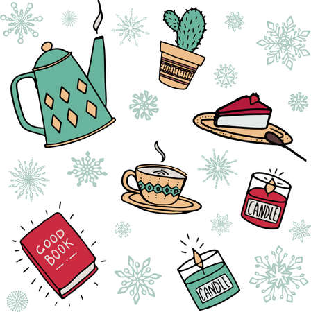 Set of Cute illustrations with autumn and winter hygge cozy elements: cheesecake, coffee, teapot, red book, candle, succulent. Isolated vector on white background. Scandinavian danish style. Stock fotó