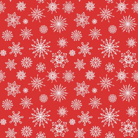 Patrón de fondo de vector transparente de copo de nieve. Ilustración de vector