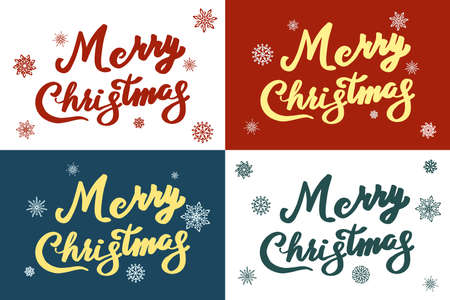 Set of Merry Christmas vector text Calligraphic Lettering design card template. Creative typography for Holiday Greeting Gift Poster. Calligraphy Font style Banner.