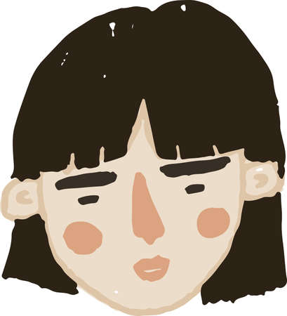 Hand drawn simple vector asian young womanhead Ilustracja