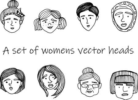 Hand-drawn doodle faces of people of different styles and nationalities