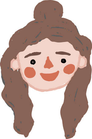 Hand drawn simple vector young woman head with long hair Ilustracja