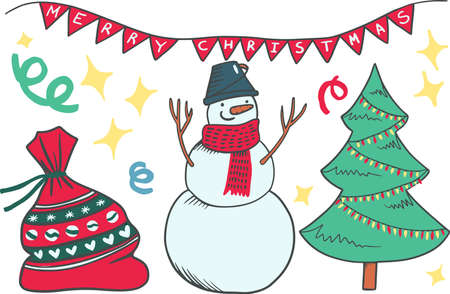 Print Christmas and New Year elements with cardinal birds, cookie men, xmas lights, hot cocoa and marshmallow, candies and bell. Hand drawn doodle Vector illustration.