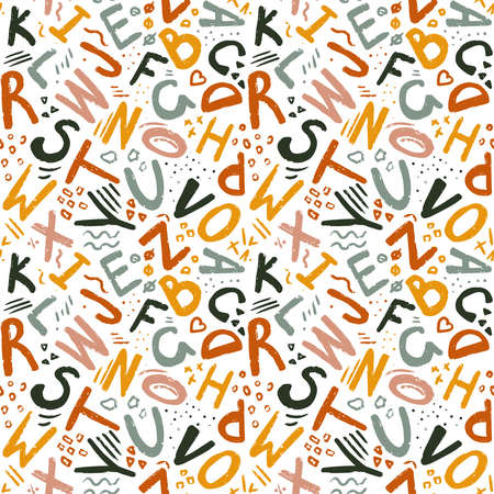 Cute English hand written alphabet, vintage vector seamless pattern. Lowercase and uppercase letters, fine for card, lettering, poster Ilustração