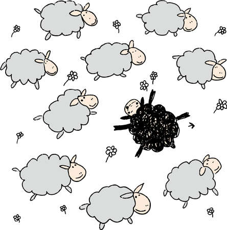 Hand drawn cute black sheep in the flock. Outstanding, different, competitive advantage concept. Vector illustration