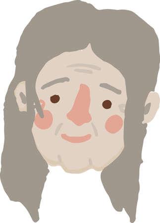 Hand drawn simple vector old woman head Ilustracja