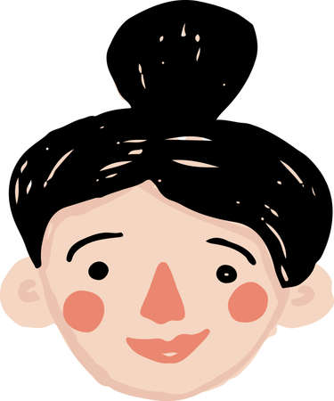 Hand drawn simple vector young woman head