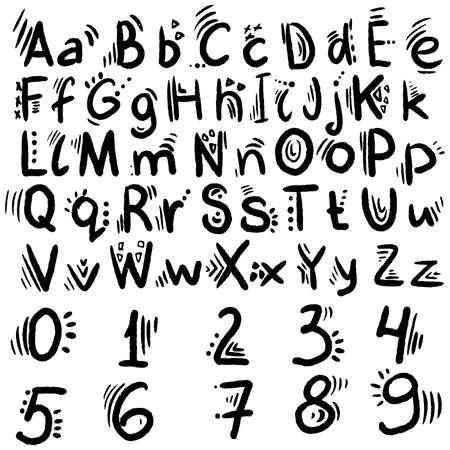 Cute English hand written alphabet, vintage vector illustration. Lowercase and uppercase letters, fine for card, lettering, poster Ilustração