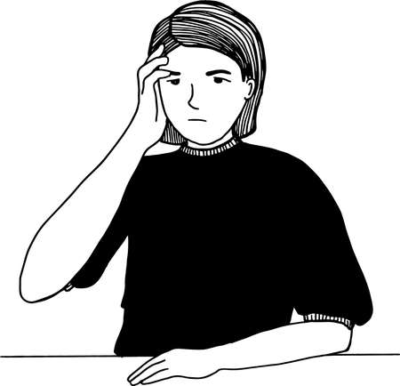 Hand drawn simple Illustration of a young girl with headache and dizziness