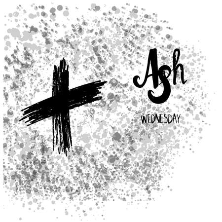 Hand drawn Ash Wednesday Poster Or Banner vector Background.