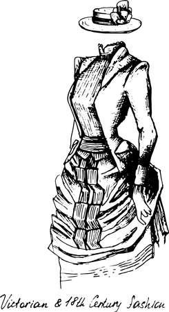 Ensemble de vecteurs dessinés à la main : vêtements vintage élégants - variété d'illustrations de mode rétro. Croquis stylisé vintage, style rétro gravure sur bois Vecteurs
