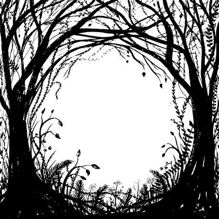 Hand drawn enchanted forest. Vector halloween black and white frame