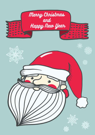 PrintVector postcard with cute christmas characters and elements. Doodle illustration. Winter holidays cards, posters, t shirt print Ilustração