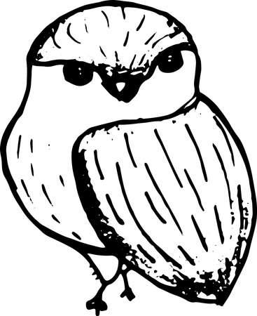 Ink hand drawn bird sketch. Vector outline illusytation